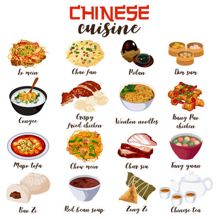A vector illustration of Chinese food cuisine. Illustration