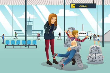 A vector illustration of soldier dad coming home greeted by his son at the airport.