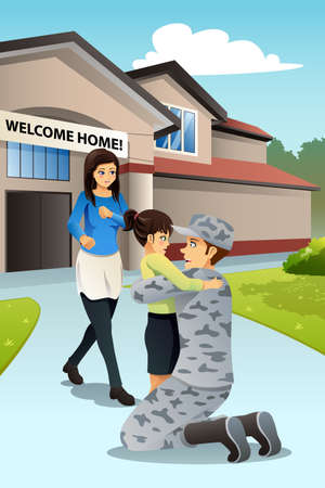 A vector illustration of soldier dad coming home greeted by his daughter.