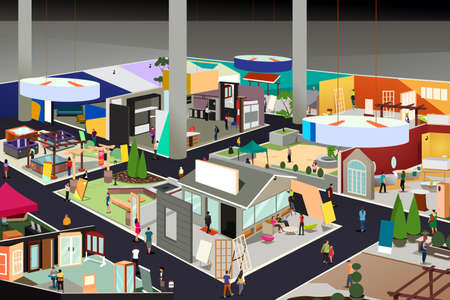A vector illustration of Home and Garden Trade Show Illustration