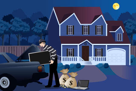 A vector illustration of Burglar Stealing From a House Illustration