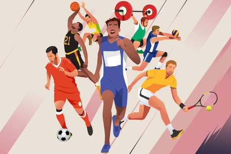 Un'illustrazione di vettore degli atleti degli sport differenti sul fondo di colore.