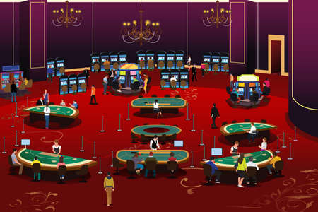 A vector illustration of People Gambling in Casino Illustration