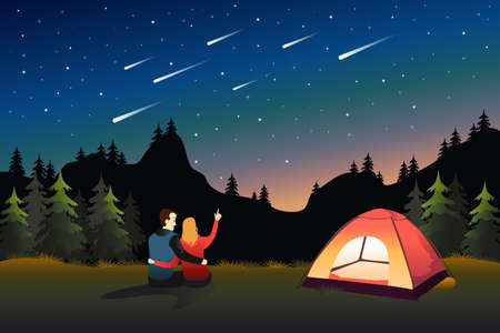 A vector illustration of Couple Watching Meteor Shower While Camping