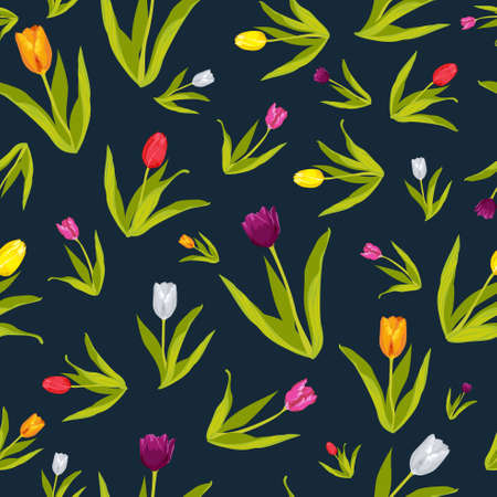 A vector illustration of Tulip Flowers Wallpaper Seamless Pattern Background