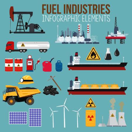 A vector illustration of Oil and Fuel Industry Infographics Elements Ilustração