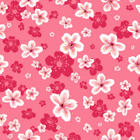 A vector illustration of Cherry Blossoms Wallpaper Seamless Pattern Background