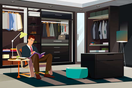 A vector illustration of Modern Man Reading a Book at Home Illustration