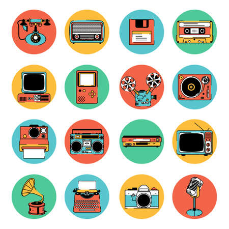 A vector illustration of Retro Electronic Equipment Icons