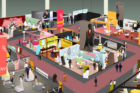 A vector illustration of Wedding and Bridal Trade Show