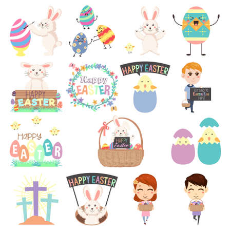 A vector illustration of Cute Easter Clip Arts Illustration