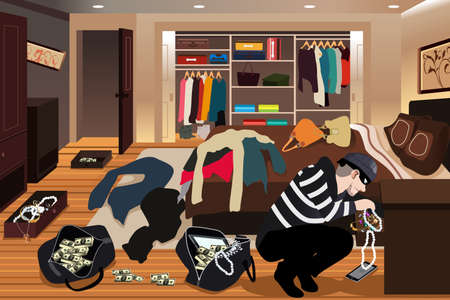 A vector illustration of burglar stealing from a house.