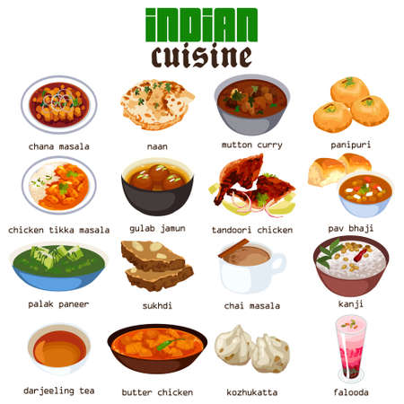 A vector illustration of Indian Food Cuisine