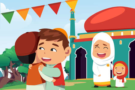 A vector illustration of Muslims Celebrating Eid Al Fitr Banco de Imagens - 97679092
