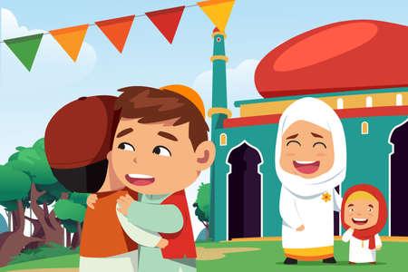 A vector illustration of Muslims Celebrating Eid Al Fitr
