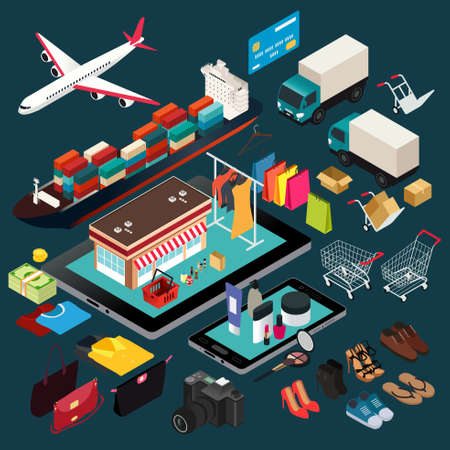 A vector illustration of isometric of shopping and shipping.