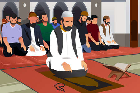 A vector illustration of Muslims Praying in a Mosque Çizim