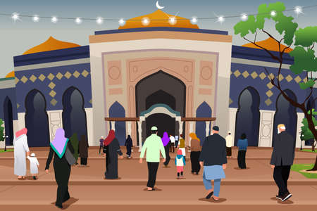 A vector illustration of Muslims Going to Mosque to Pray Illustration