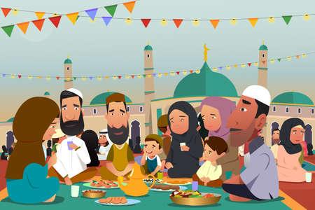 Een vectorillustratie van moslims die samen eten tijdens de ramadan