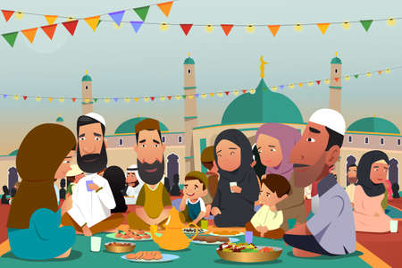 A vector illustration of Muslims Eating Together During Ramadan