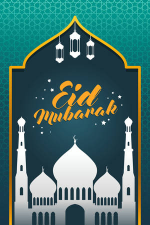 A vector illustration of Eid Mubarak Celebration Greeting Card with mosque and lanterns. Illustration