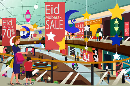 A vector illustration of Muslim People Shopping During Eid Mubarak Sale Illustration