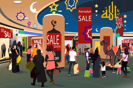 A vector illustration of Muslim People Shopping During Ramadan Eid-Al-Fitr Sale Illustration