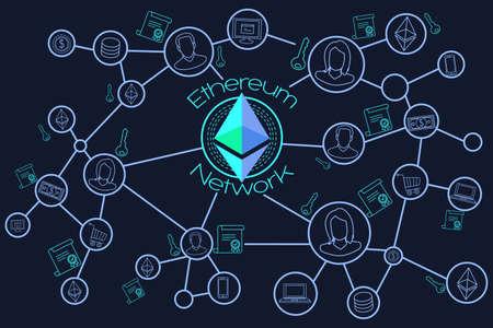 A vector illustration of Ethereum Network Blockchain Conceptual