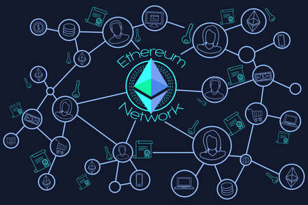 A vector illustration of Ethereum Network Blockchain Conceptual
