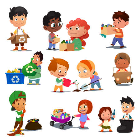 A vector illustration of Children Recycling
