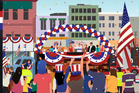 A vector illustration of People Celebrating Fourth of July Parade Illustration