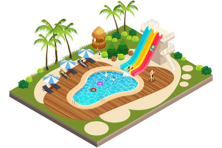 A vector illustration of Isometric View of Swimming Travel Resort Illustration