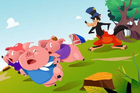 A vector illustration of Three Little Pigs and Scary Wolf