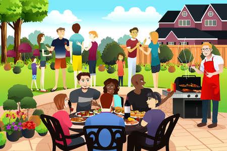 Una ilustración vectorial de amigos y familiares se reúnen con una fiesta de barbacoa en el verano Ilustración de vector