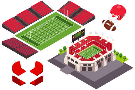 A vector illustration of Isometric View of Football Stadium