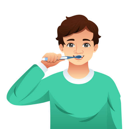 A vector illustration of Young Man Brushing His Teeth