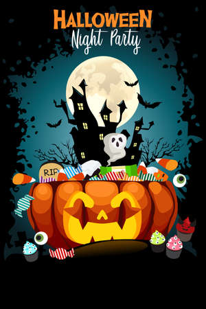 A vector illustration of Halloween Night Party Poster