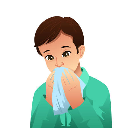 A vector illustration of Sick Man Blowing His Nose on a Tissue Иллюстрация