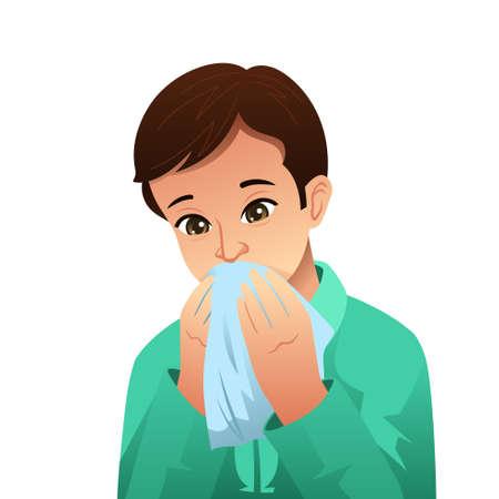 Een vectorillustratie van een zieke man die zijn neus blaast op een weefsel