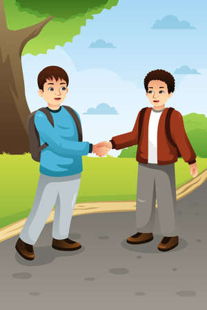 A vector illustration of Two Boys Shaking Hands