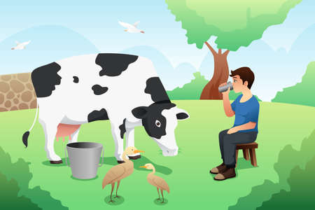 A vector illustration of Boy Drinking Milk After Milking a Cow
