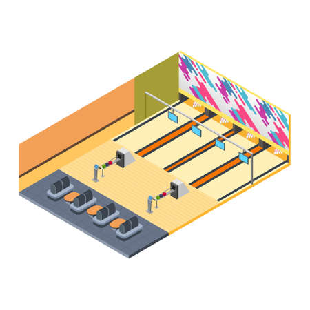 A vector illustration of Bowling Alley Isometric 版權商用圖片 - 109743032