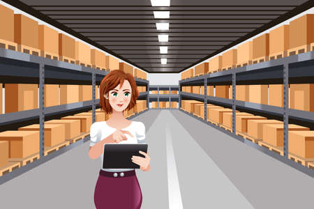 A vector illustration of Beautiful Woman Working in a Warehouse Using Tablet PC