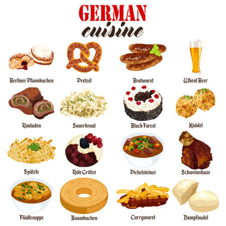A vector illustration of German Food Cuisine