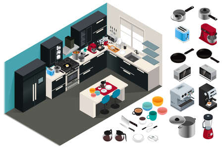 A vector illustration of Isometric Kitchen Appliances Stock Illustratie