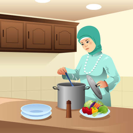 A vector illustration of Muslim Woman Cooking at Home
