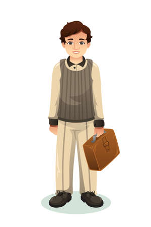 A vector illustration of Businessman Carrying a Suitcase