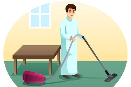 A vector illustration of Muslim Man Vacuuming the Carpet at Home