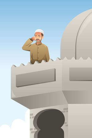 A vector illustration of Muslim Man Calling Out for Prayer in a Mosque