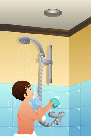 A vector illustration of Boy Taking Shower Çizim